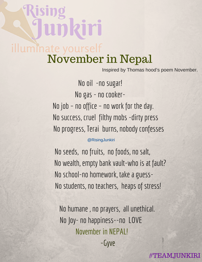 No Joy- no happiness--no LOVE November in NEPAL!