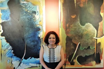 Bidhata KC with her artworks from Thopaharu at GG Machhan