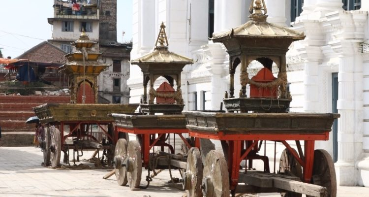 Three chariots pulled during Indra Jatra (Kumari Jatra) seen in Basantapur at rest, on Friday, September 21, 2018. Photo: Abhilekh Bhurtel