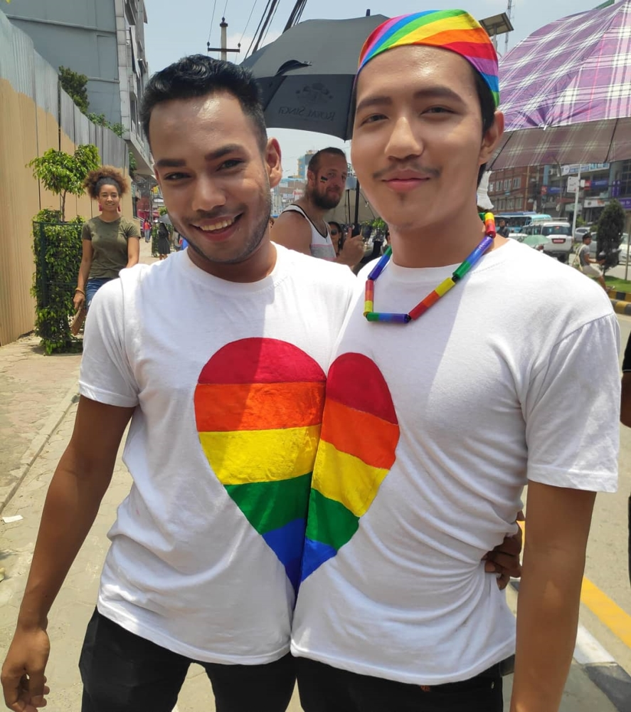 couple at pride parade in nepal