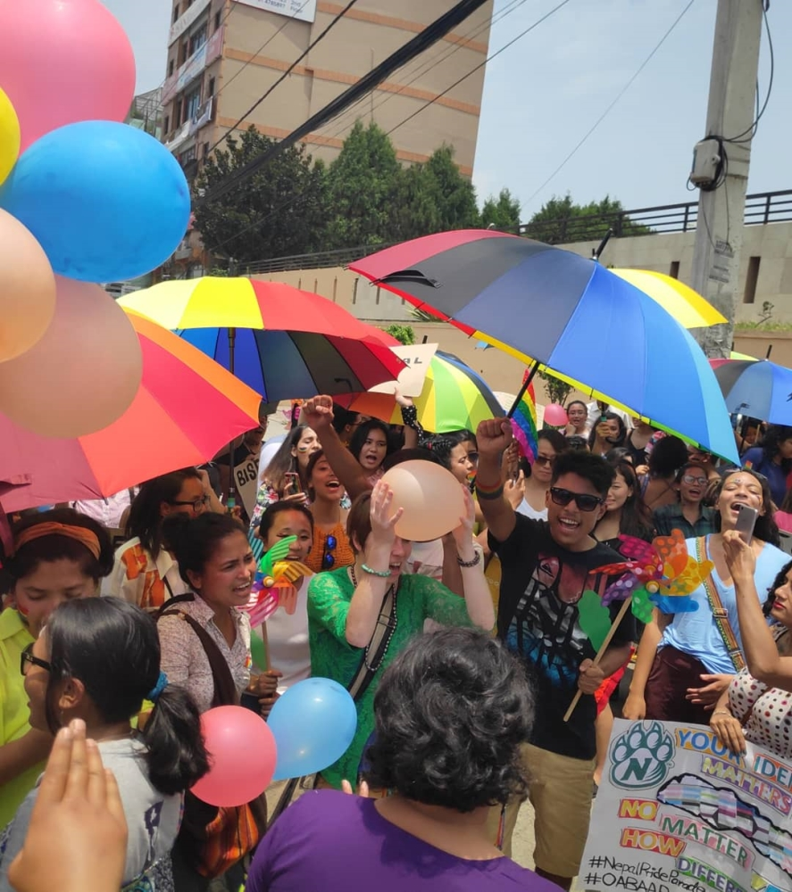 participants at pride parade in nepal