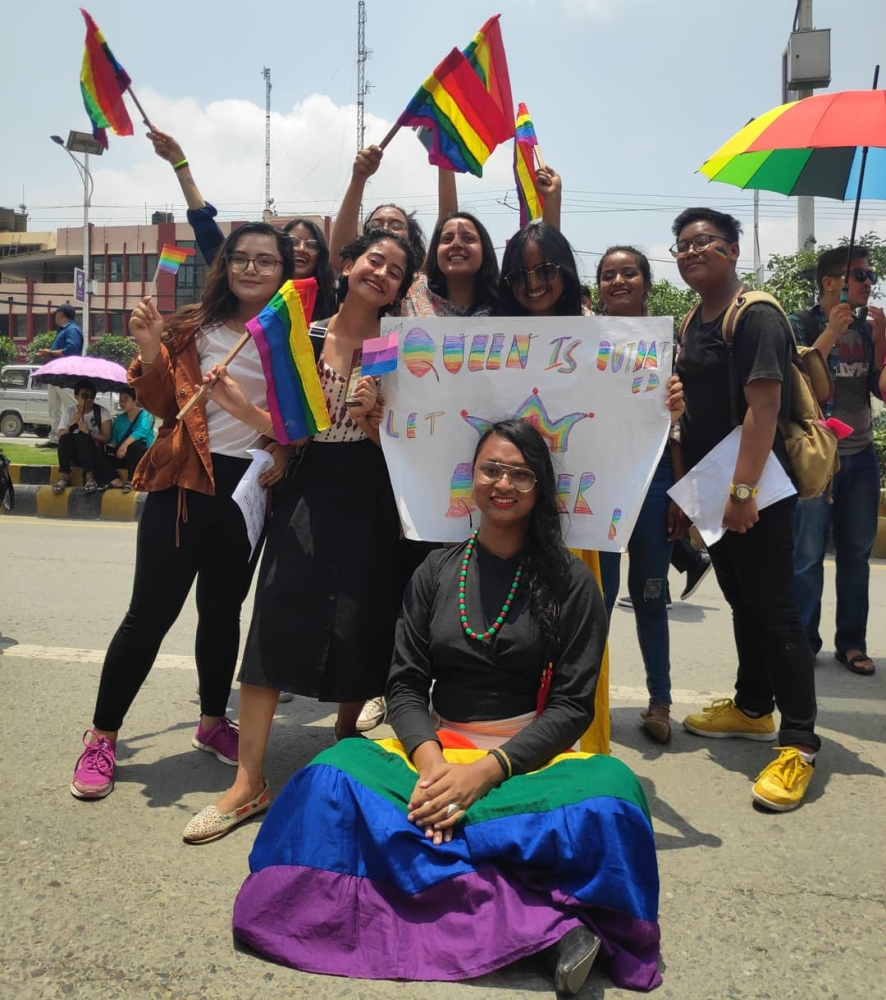 participants in pride parade in Nepal